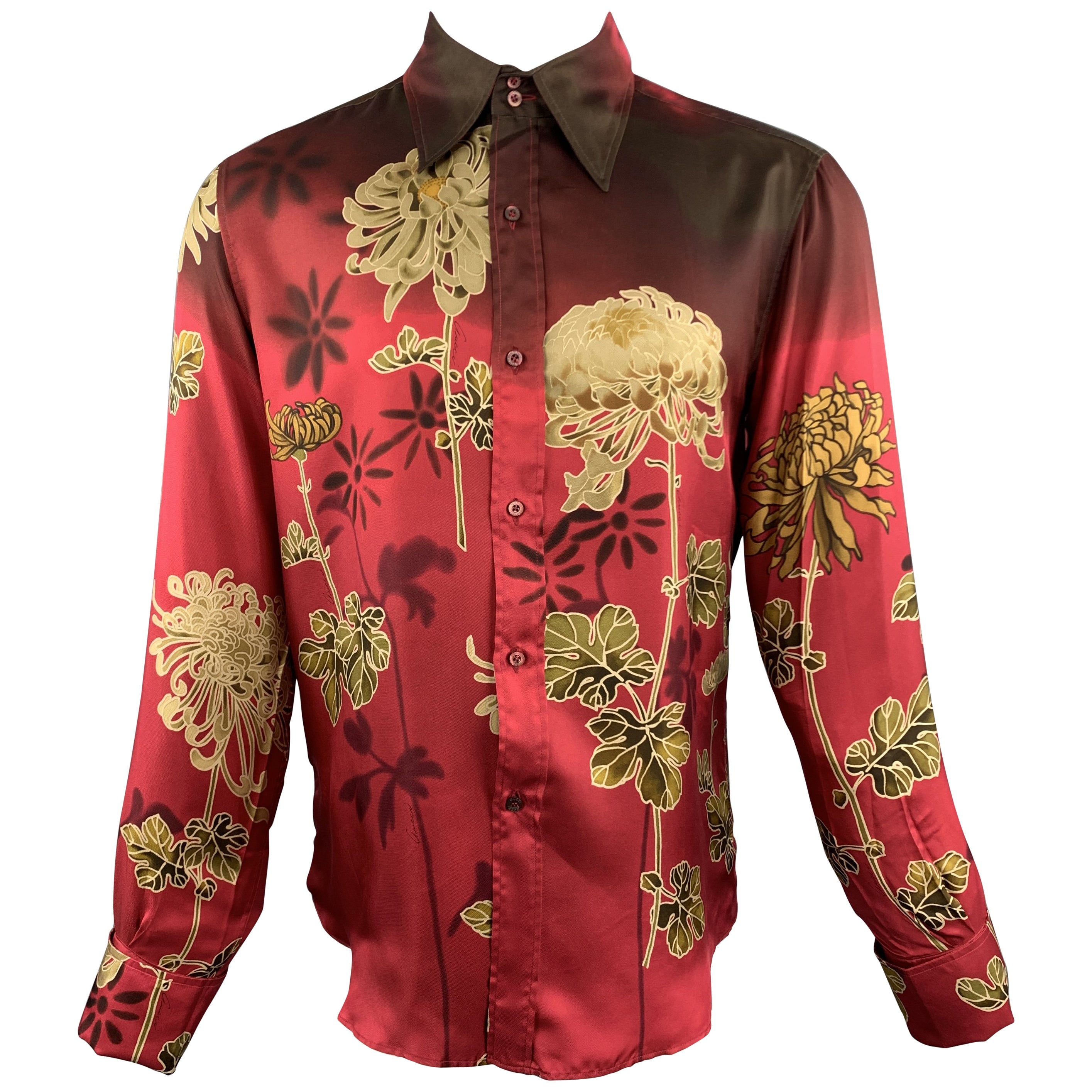 3636ff8f7ce4 GUCCI by TOM FORD M Burgundy Floral Silk French Cuff Long Sleeve Shirt For  Sale at 1stdibs
