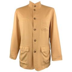 LORO PIANA L Khaki Cashmere Patch Pocket Nehru Collar Jacket