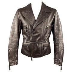 JIL SANDER 42 Brown Leather Belted Waist Biker Jacket