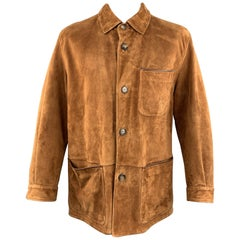 SULKA XXL Tan Suede Button Up Patch Pocket Coat