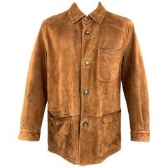 SULKA XXL Tan Suede Button Up Patch Pocket Coat