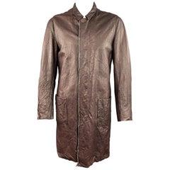 CARPE DIEM M Burgundy Wrinkled Leather Collared Long Coat