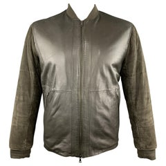 VINCE L Olive Leather Quilted Suede Sleeve Bomber Jacket