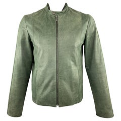 JIL SANDER 42 Green Distressed Leather Zip Up Biker Jacket