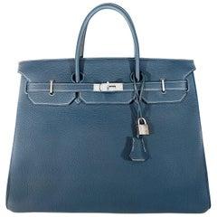 Hermès Blue Sapphire Togo 40 cm Horseshoe Birkin- White Interior