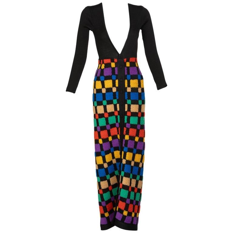 ef8da2805cf Vintage Color-Block Maxi Plunge Neck Sweater Dress