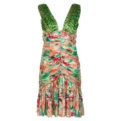 Zac Posen Splash Paint Multicolored Print Silk Lamè Cutout Back Dress, 2006