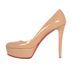 Christian Louboutin Nude Patent Leather Bianca 140 Platform Pumps sz 39.5