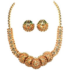 1950'S Gold & Swarovski Crystal Necklace And Earrings By Joseph Warner S/3