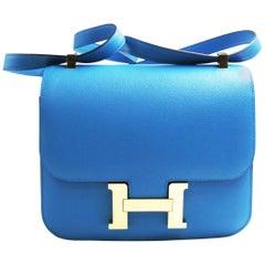Hermès Constance Bleu Zanzibar Evercolor Tote
