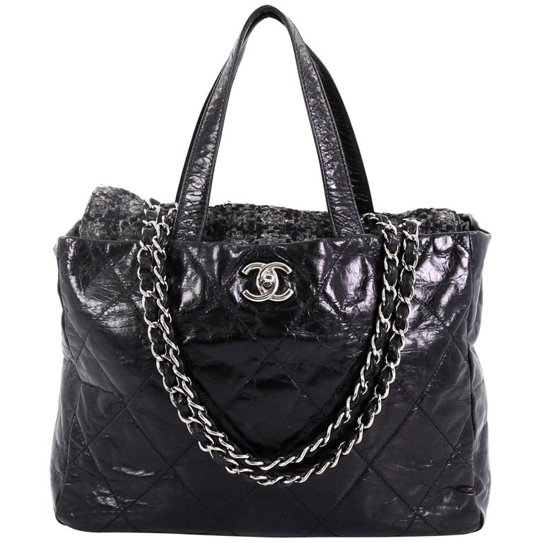 f1593bc51a75 Chanel Portobello Tote Quilted Glazed Calfskin and Tweed Medium For Sale