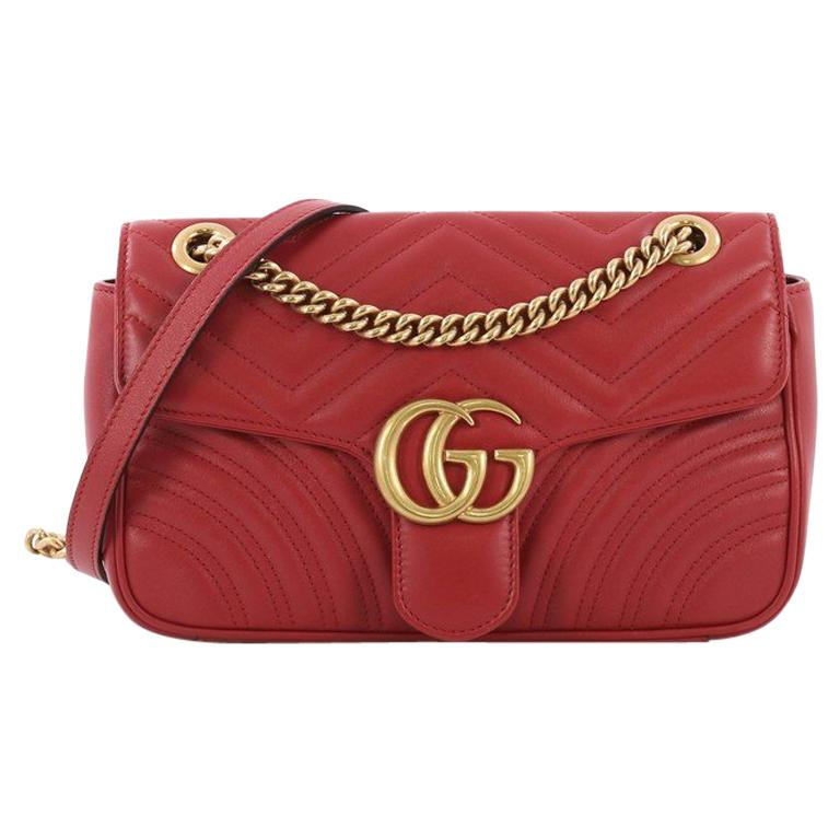 83eac4a9916 Gucci GG Marmont Flap Bag Matelasse Leather Small For Sale at 1stdibs