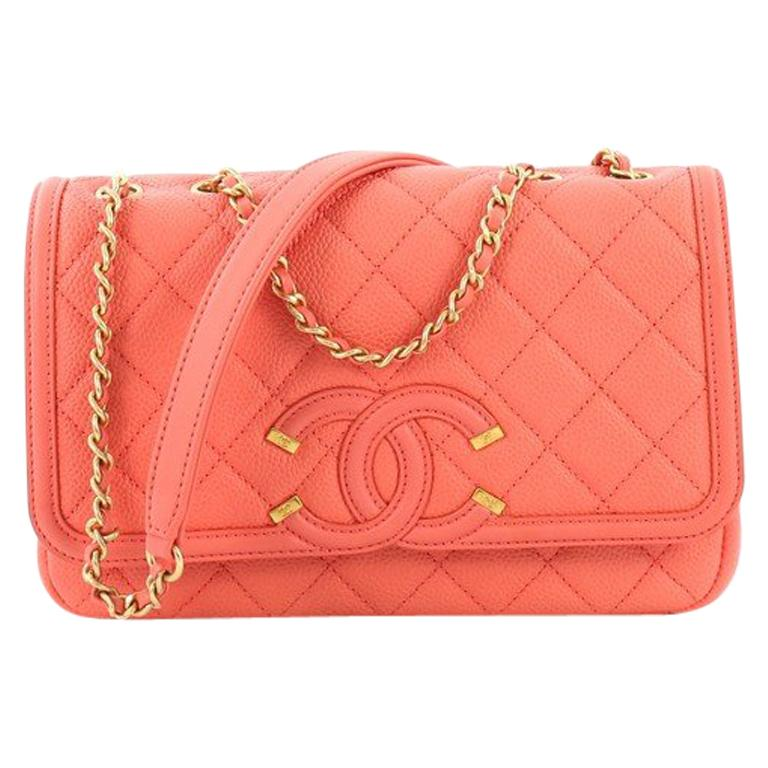 ac386d1651c4 Chanel Filigree Flap Bag Quilted Caviar Small at 1stdibs