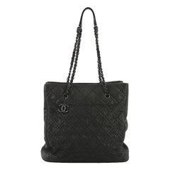 Chanel CC Charm Tote Quilted Iridescent Calfskin Tall