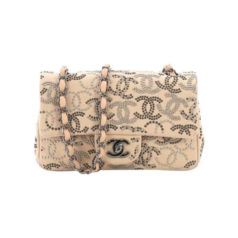 ff0be4b29943 Chanel Classic Single Flap Bag CC Studded Canvas Mini For Sale at ...