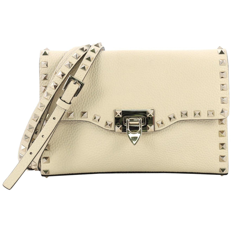 c3f0756a76 Valentino Rockstud Flip Lock Flap Bag Leather Medium at 1stdibs