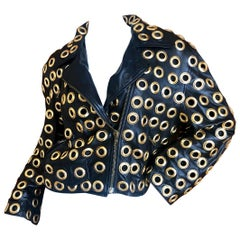 Moschino Couture 1980's Leather Moto Jacket with Bold Grommet Details