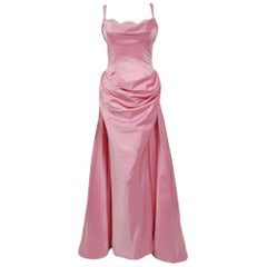 1998 Bob Mackie Couture Pink Satin Gown Worn by Julia Louis-Dreyfus for Emmys