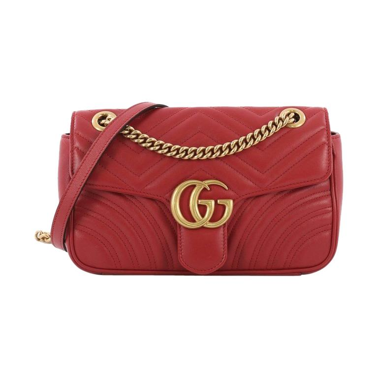 91bfda66e9fa Gucci GG Marmont Flap Bag Matelasse Leather Small For Sale at 1stdibs