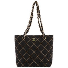 Chanel Surpique Chain Tote Quilted Wool Small