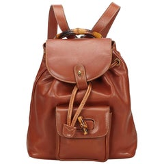 5d8b5e0be552 Gucci Brown Calf Leather Bamboo skin Drawstring Backpack Italy w/ Dust Bag