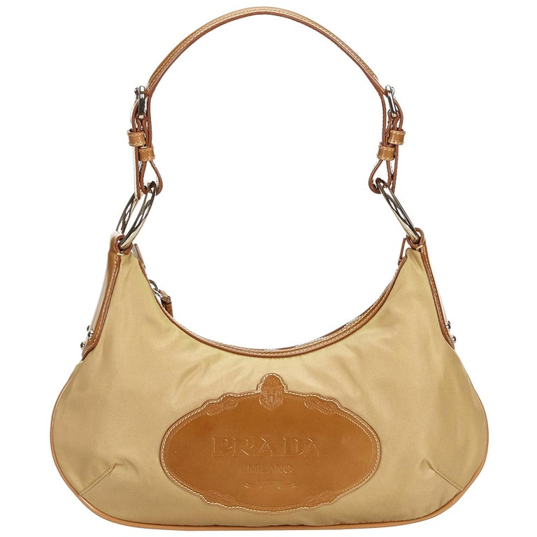 4142ffa69b1b07 Prada Brown Beige Nylon Fabric Logo Hobo Italy w/ Dust BagAuthenticity Card  For Sale