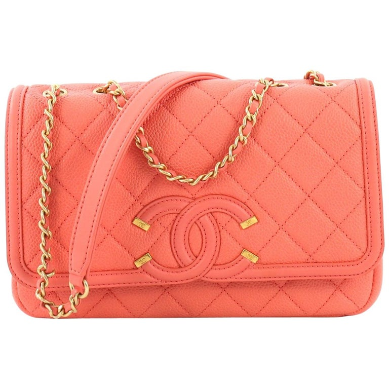 29989bea Chanel Filigree Flap Bag Quilted Caviar Small,