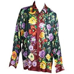 Multicolor Vintage Gianni Versace Floral Silk Blouse