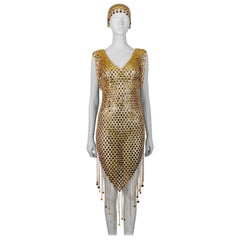 1970s Gold Toned Rhodhoid Chainmail Fringed Dress and Hat