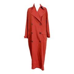 1980s Gianfranco Ferrè Orange Silk and Linen Trench Long Coat