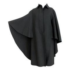 Salvatore Ferragamo Black Wool Batwing Cape Coat 1990s