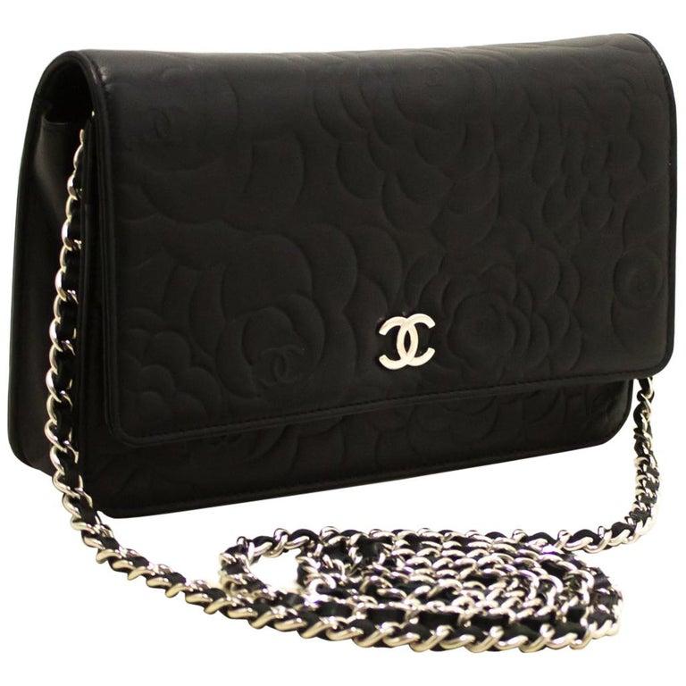 c4203d5b18cbf2 CHANEL Black Camellia Embossed WOC Wallet On Chain Shoulder Bag For Sale