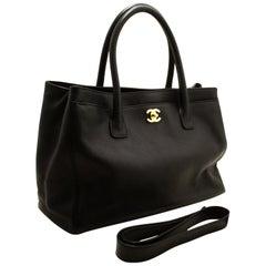 CHANEL Executive Tote Caviar Shoulder Bag Handbag Black Gold