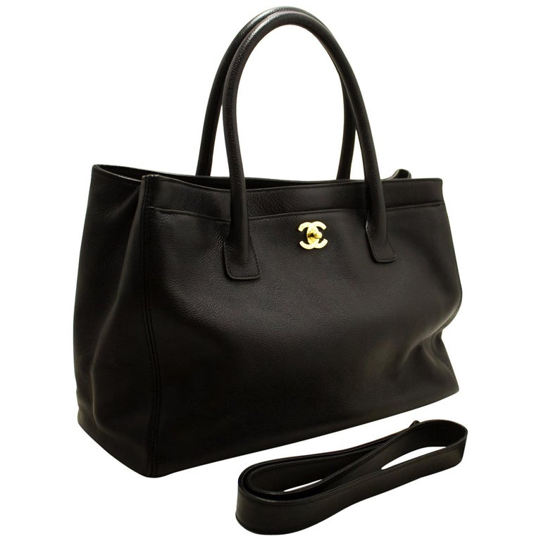 a1125c45236486 CHANEL Executive Tote Caviar Shoulder Bag Handbag Black Gold For Sale