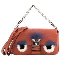 Fendi Monster Baguette Leather and Fur Micro