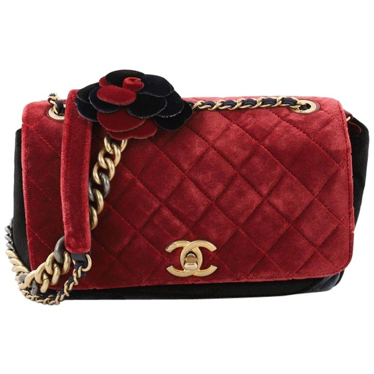 2baf6de3f3fb Chanel Paris-Cosmopolite Camellia Flap Bag Quilted Velvet Medium For Sale  at 1stdibs