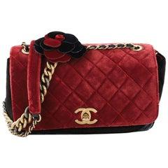 Chanel Paris-Cosmopolite Camellia Flap Bag Quilted Velvet Medium