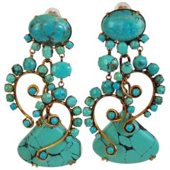 Iradj Moini Turquoise Statement Clip Earrings