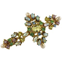 Christian Lacroix Vintage Gold Toned Jewelled Cross Brooch