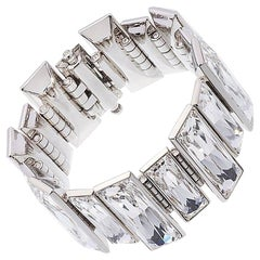Simon Harrison Panther Baguette Crystal Stainless Steel Bracelet