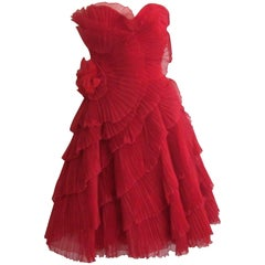 Red Accordion Pleated 1950s Strapless Dress VLV Vintage