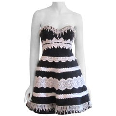 Victor Costa Black & White Strapless Cocktail Dress, 1980s