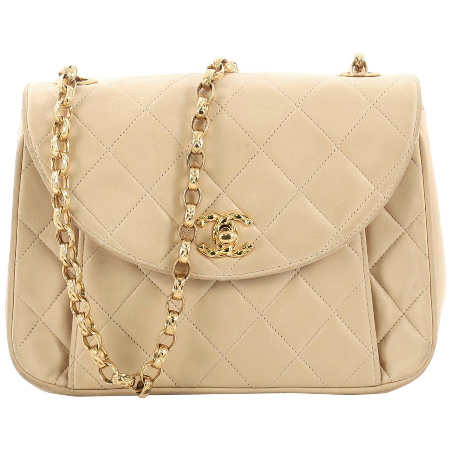 5b7d864e74d8 Chanel Vintage Round Flap Bag Quilted Lambskin Small at 1stdibs