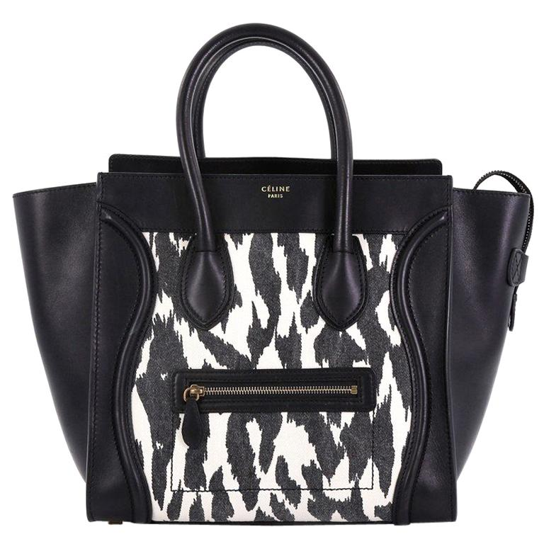 Celine Luggage Handbag Printed Textile And Leather Mini For