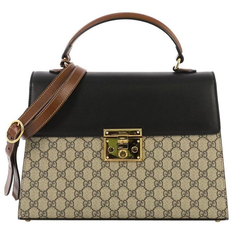 0225ef3f2 Gucci Padlock Top Handle Bag GG Coated Canvas and Leather Medium For Sale
