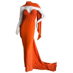 Oscar de la Renta Tangerine Strapless Evening Dress with Long Train & Scarf's