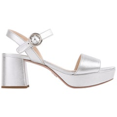 PRADA Metallic Silver Leather Platform Block Heel Sandals Heels