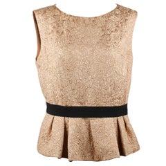 31fdf6e8ce0bc1 Christian Dior Nude Damask Silk Sleeveless Top with Peplum Hem Size 46