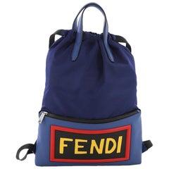 Fendi Monster Vocabulary Drawstring Backpack Nylon and Leather Large