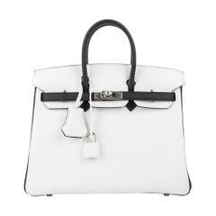51e30e7bd47a Hermes Birkin 25 Bag HSS White w  Black Clemence Palladium Hardware